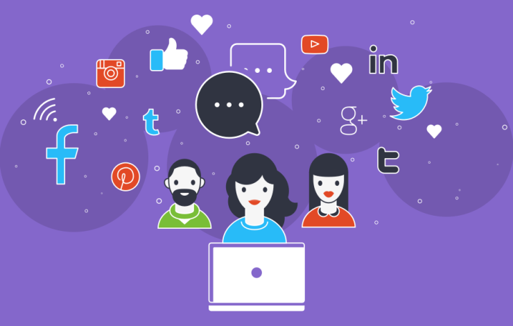 illustration symbolizing social media showing three humans with a social media cloud around their heads