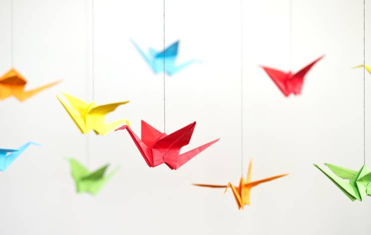origami birds of different colors
