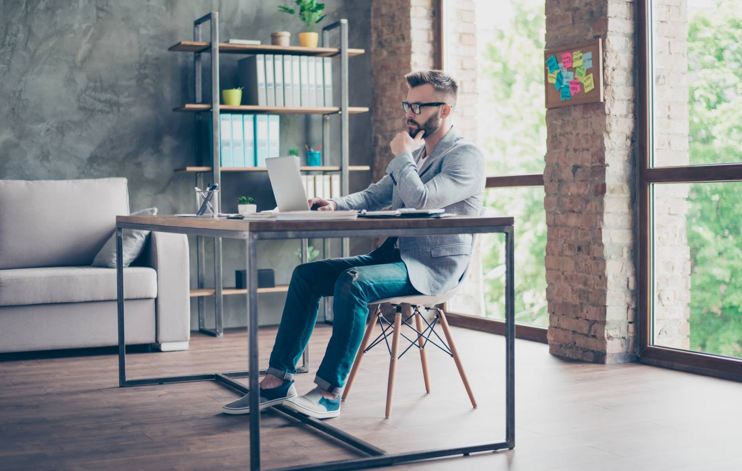 Man sitting in the office of a startup