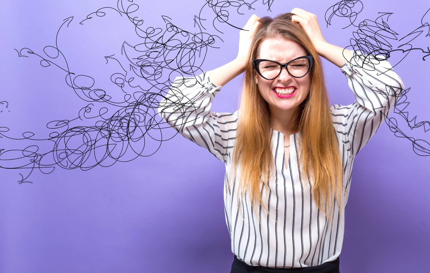 frustrated woman on purple background