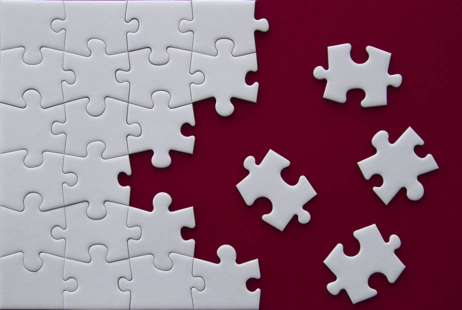 puzzle on red background