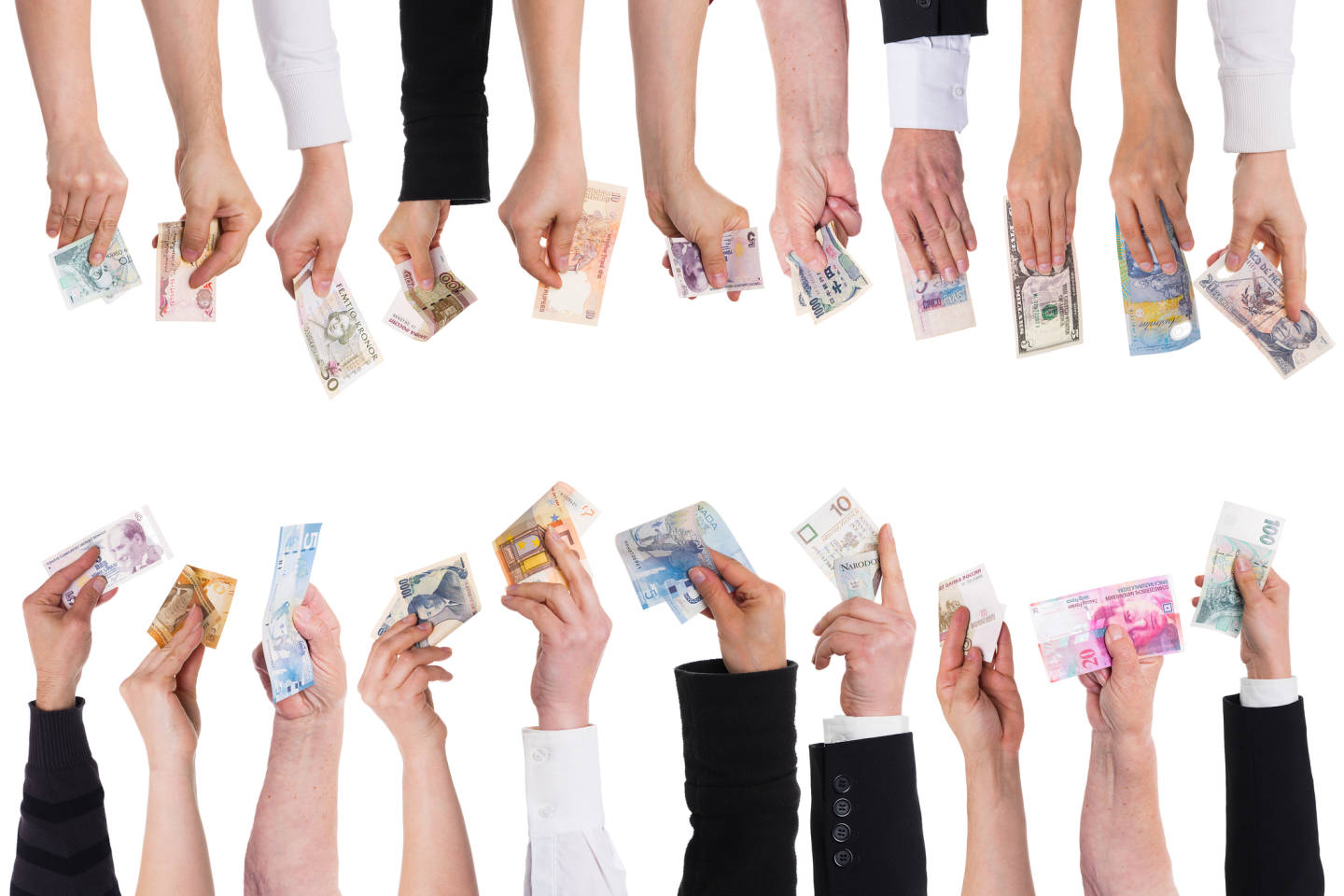 hands holding various forms of currency