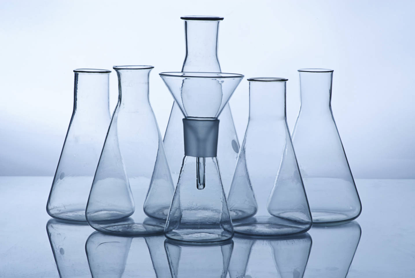 funnels and beakers for chemistry