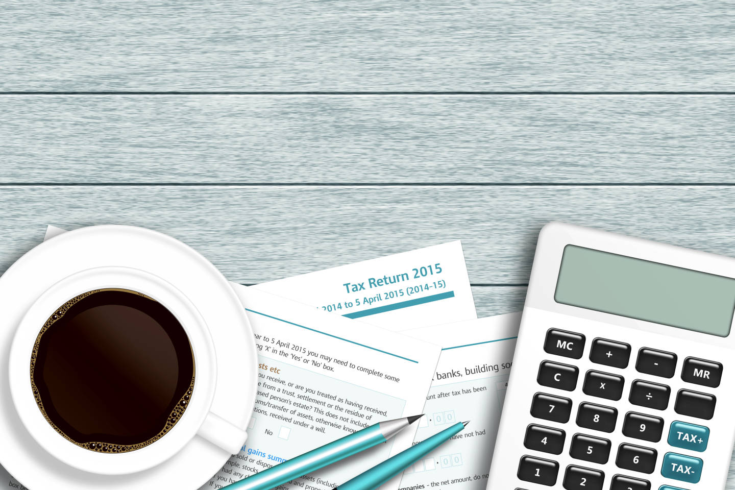 illustration of tax forms and calculator and coffe