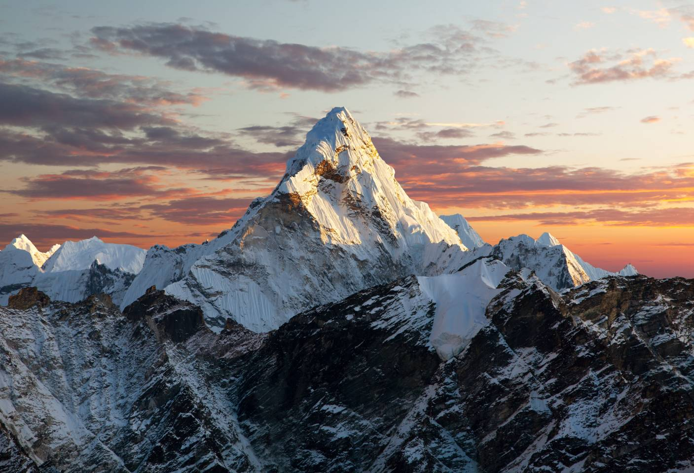 mountain peak at sunset