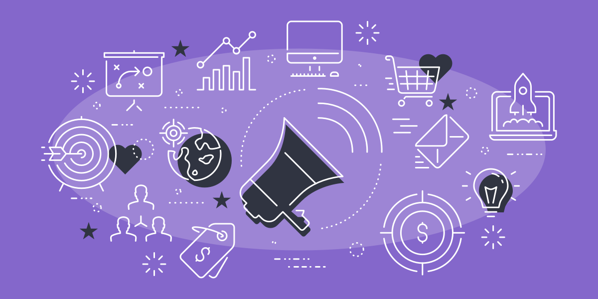 content marketing illustration on purple background