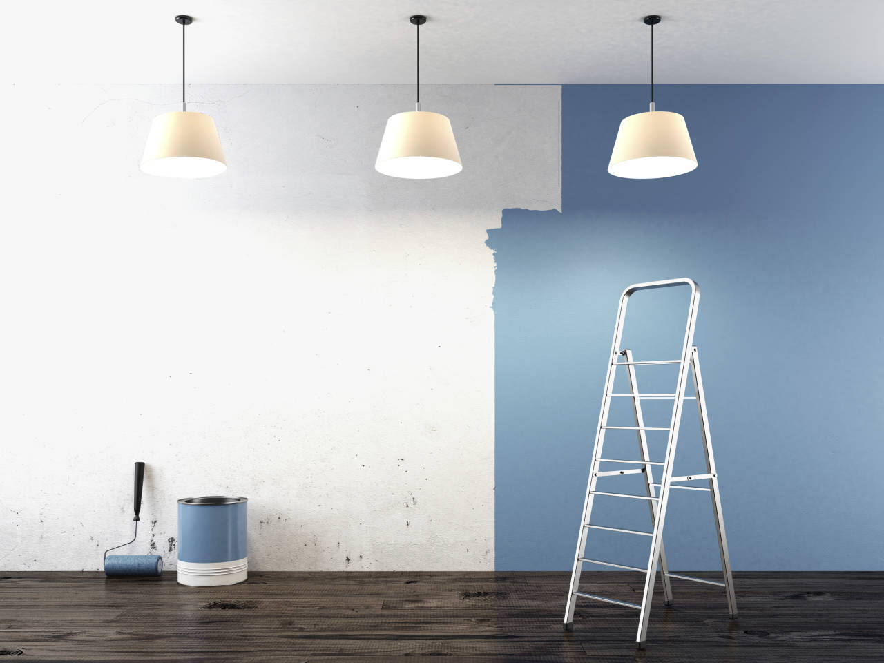 picture of a half painted wall with a ladder, bucket of paint and a roller
