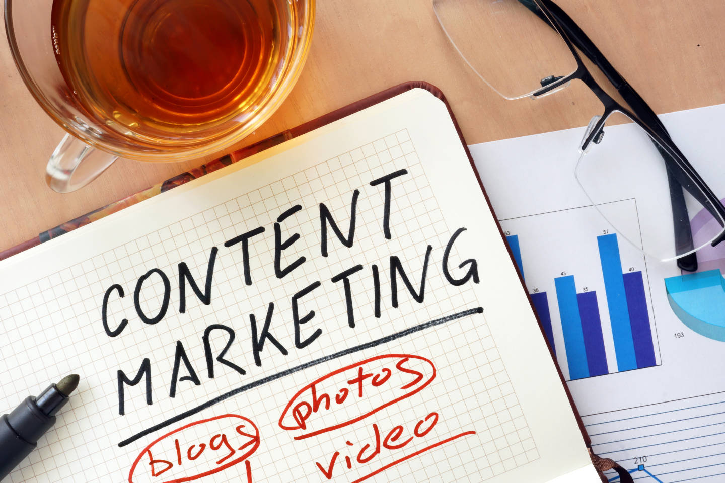 notebook with content marketing strategy spelled out