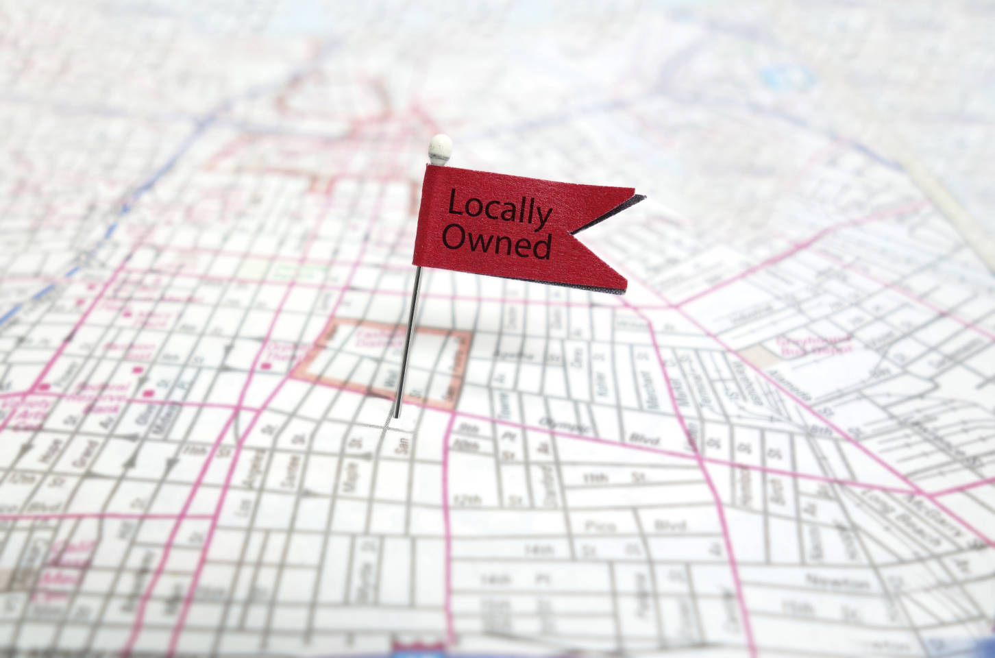 Locally Owned pin flag on map