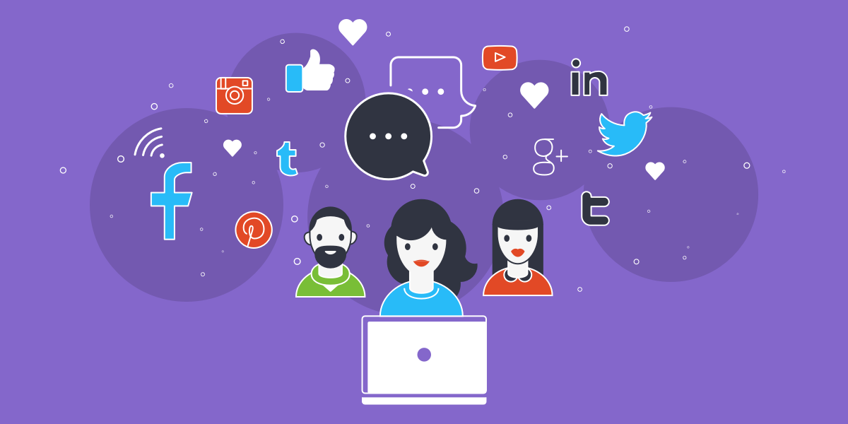 social media illustration with purple background