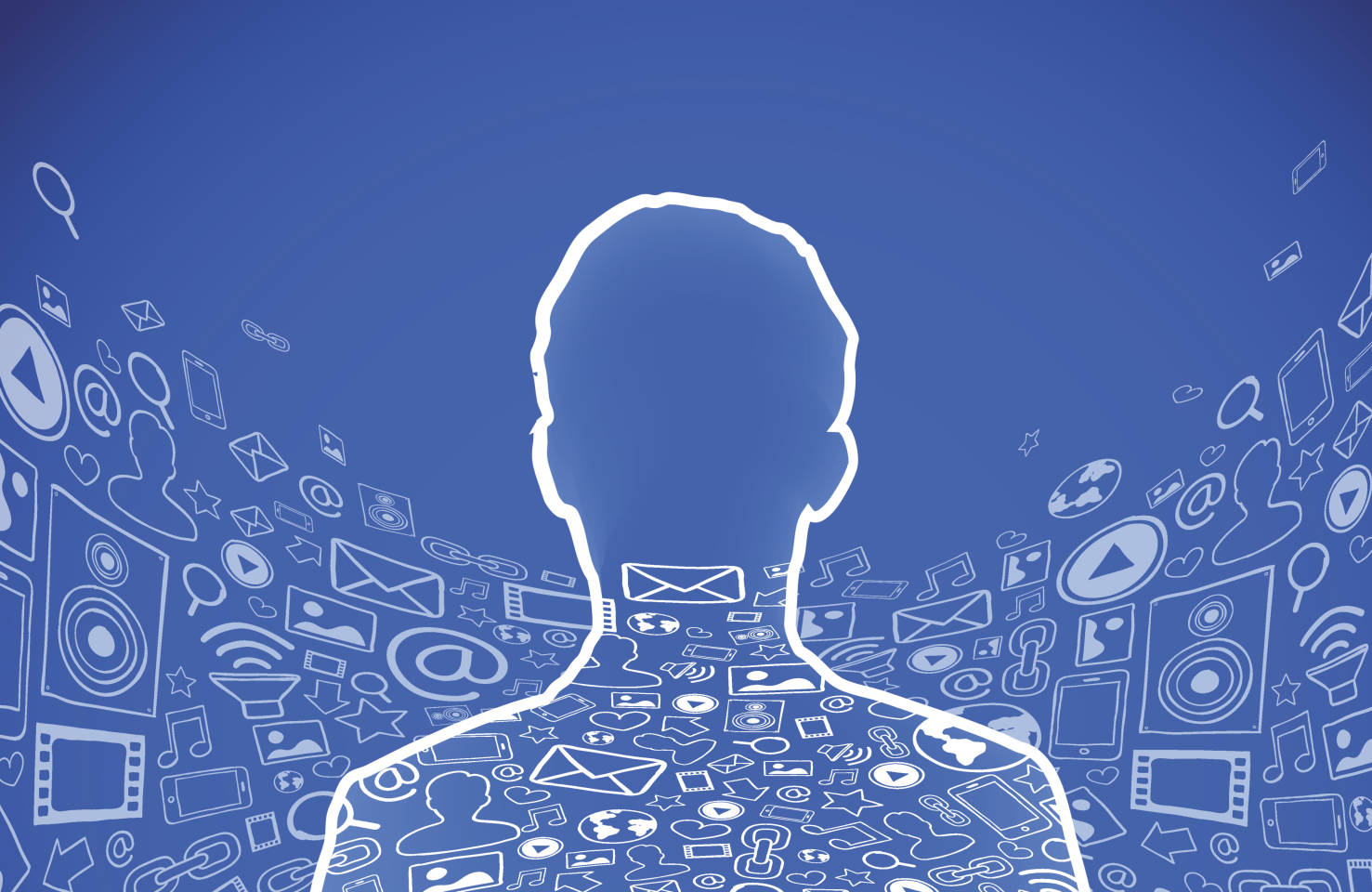 facebook head outline on blue background with facebook imagery