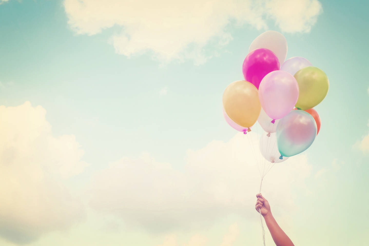 balloons on blue sky background