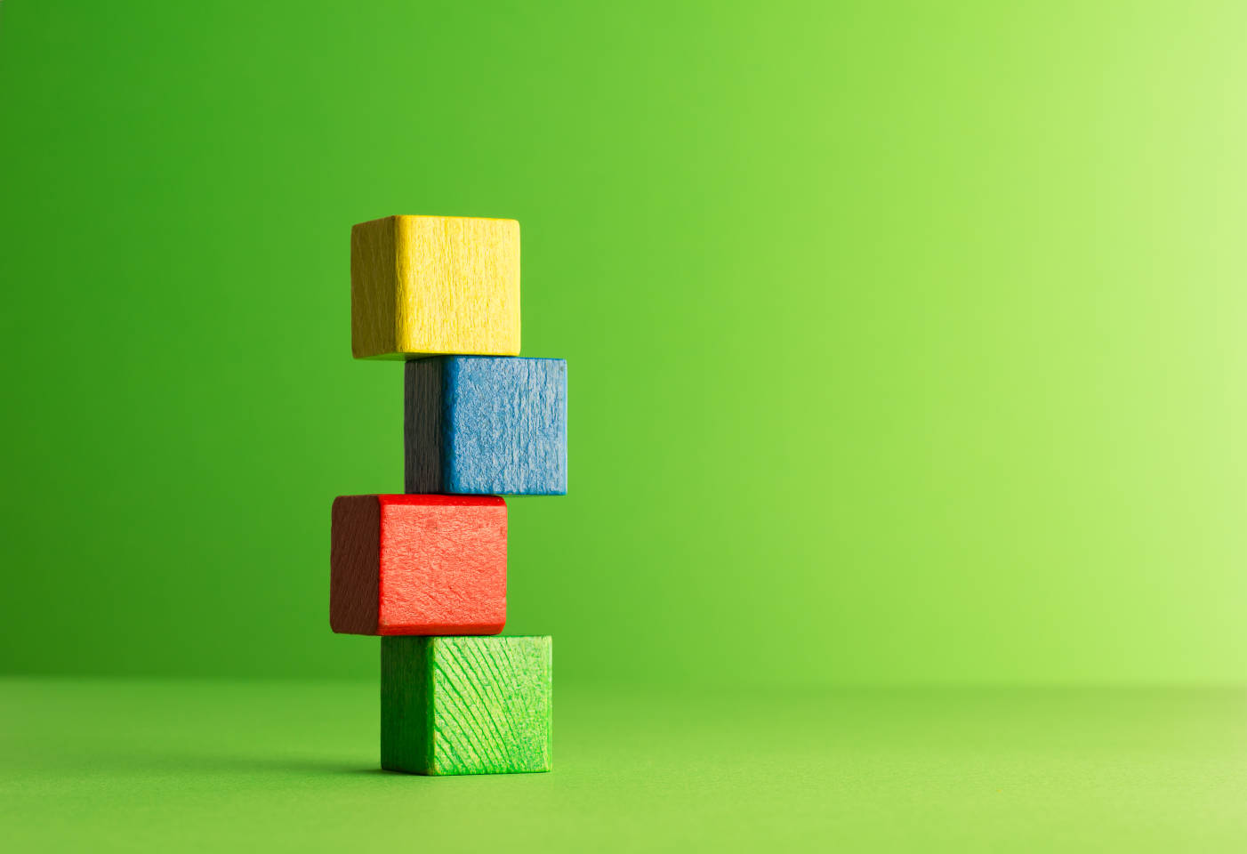 building blocks on green background