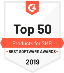 Top 50 products for small business 2019 G2 Crowd award badge
