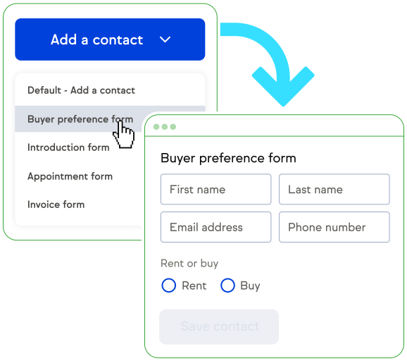 Add contact screen going to Buyer Preference form.