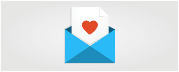 Illustration of envelope and letter with a heart on it