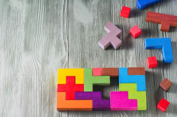 colorful wooden block puzzle pieces