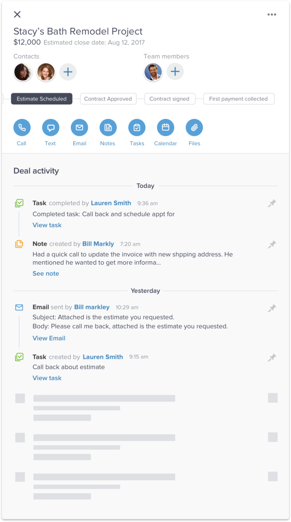 Screenshot of Infusionsoft by Keap contact record with sales activity