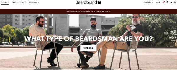 Beardbrand homepage with quiz pop-up