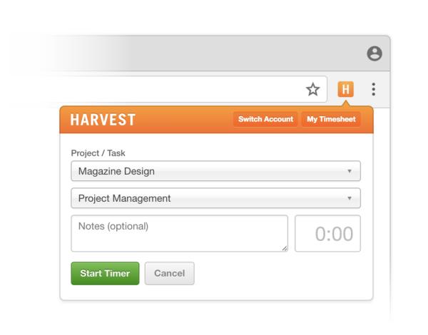 Harvest time tracker for browser