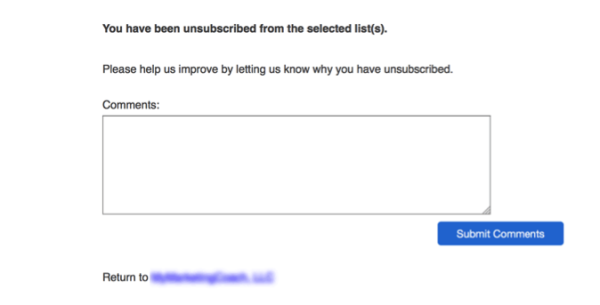 Unsubscribe comment box example
