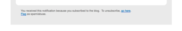 Unsubscribe email footer example