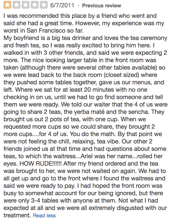 Samovar Tea Lounge negative review