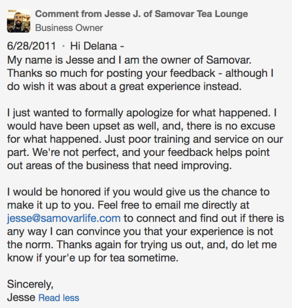 Samovar Tea Lounge owner response