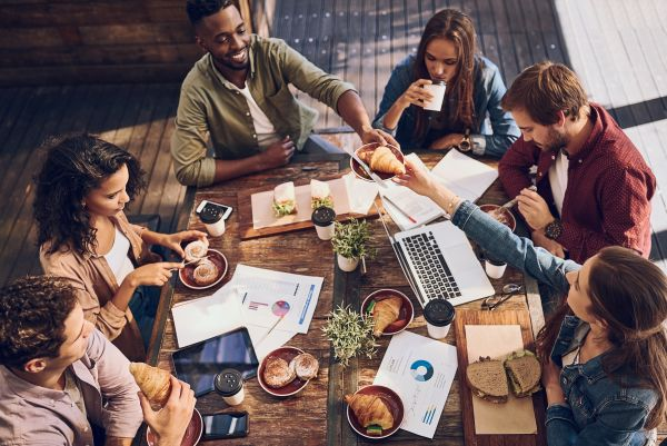 Group working from coffee shop