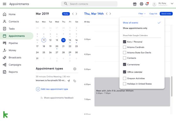 Keap Google appointments