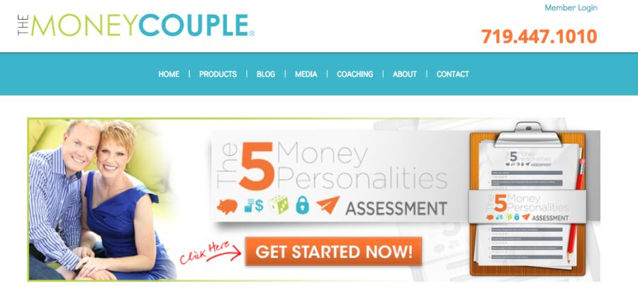 The Money Couple money personalities quiz website screenshot