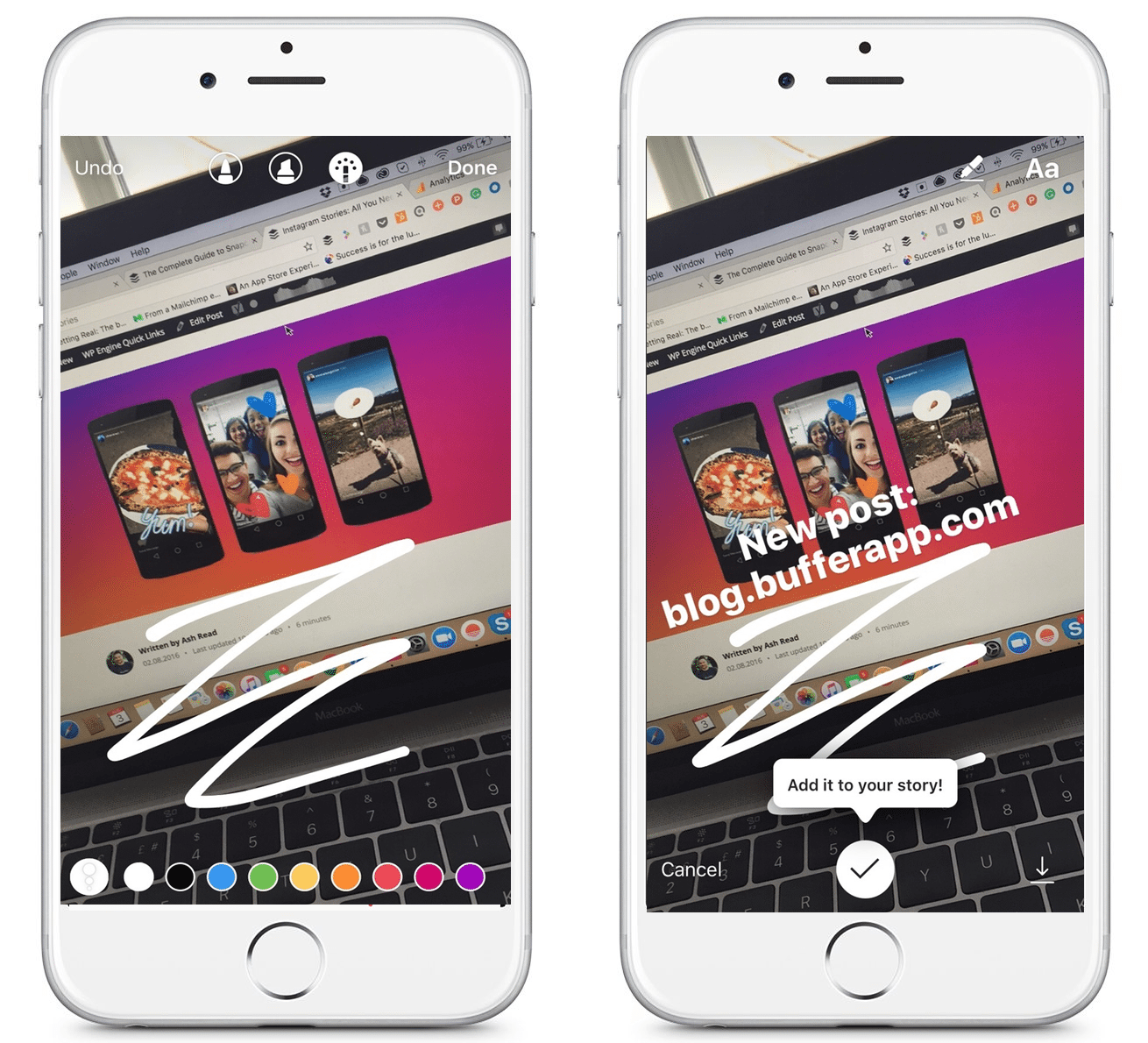 Instagram story drawing and call to action