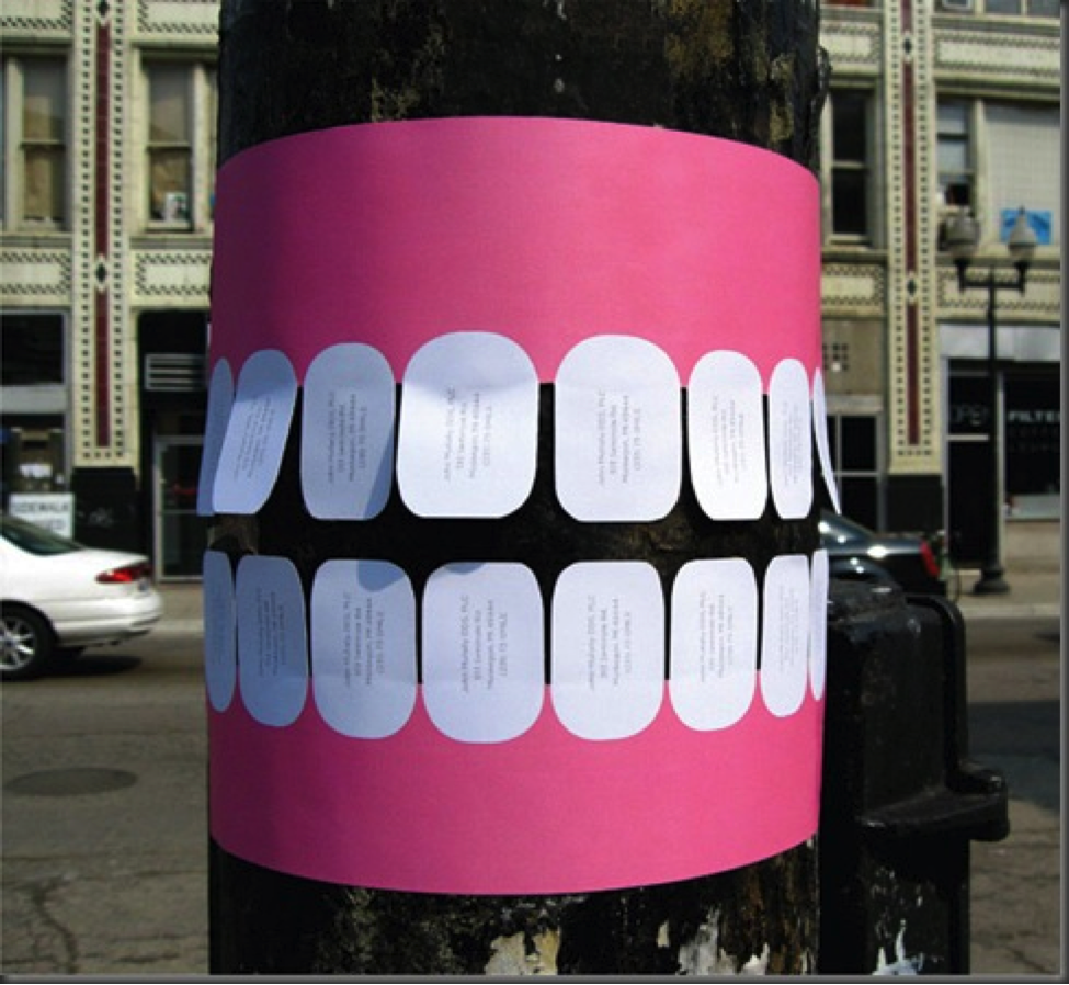 Guerrilla marketing: poster on telephone pole