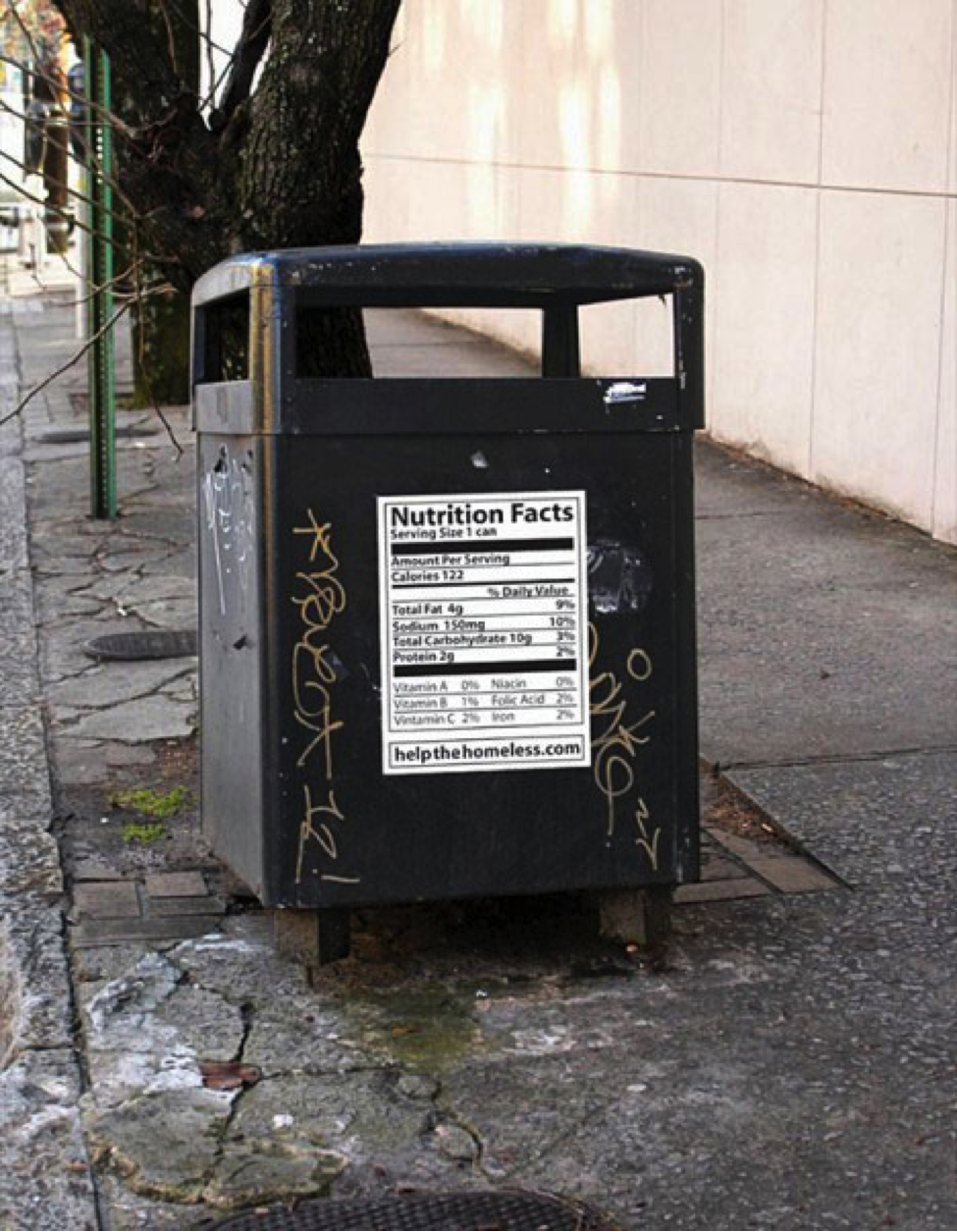 Guerrilla marketing: nutrition facts on trash can ad