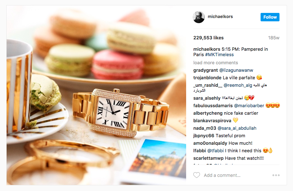 Michael Kors Instagram ad example