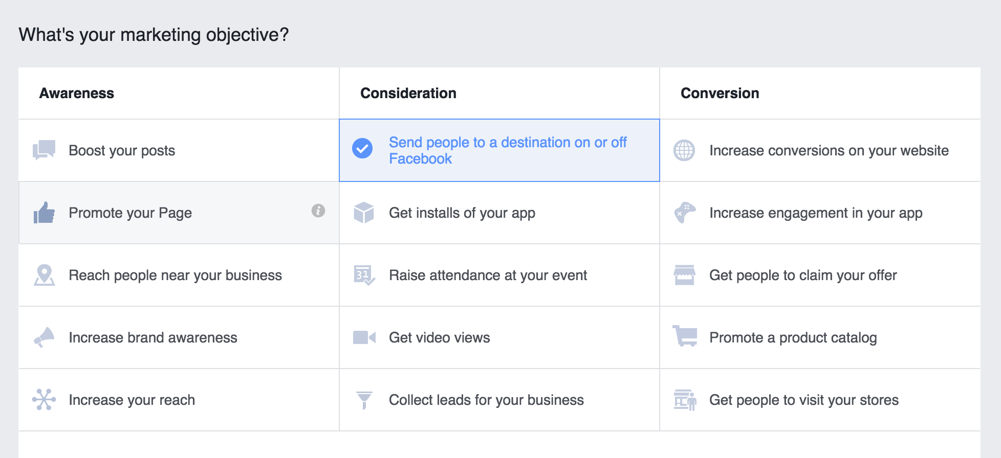 Choose your Facebook ad Campaign Marketing Objective screen shot.png
