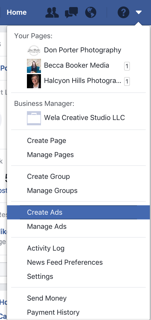 Create ad for Facebook page screen shot.png