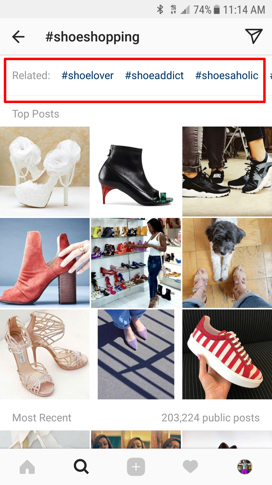 #shoeshopping Instagram hashtag example