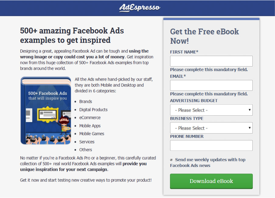 Example of an opt-in form for a free ebook on AdEspresso.png