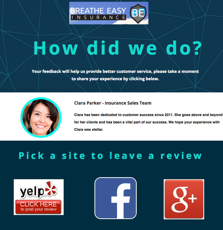 employee review landing page