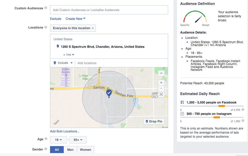 audience targeting options in facebook ads
