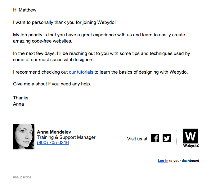 Webydo welcome email