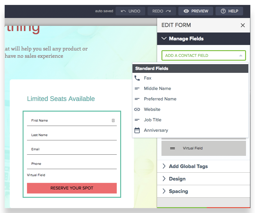 infusionsoft new landing page builder