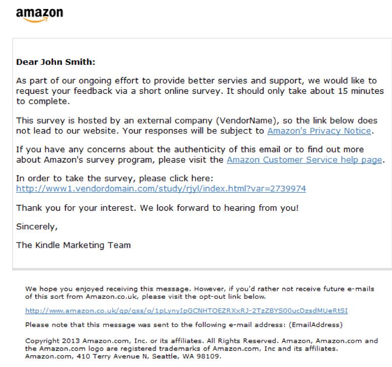 Amazon survey request letter